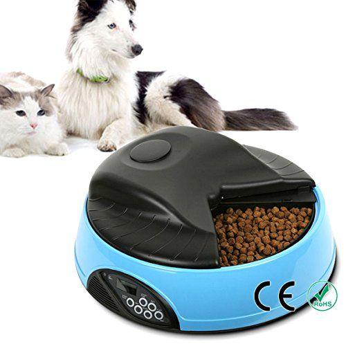 OH-BOX® 4 comida para mascotas alimentador automático de comidas dispensador de comida para perros de los gatos cuencos con pantalla LCD digital y grabadora de voz (Azul)