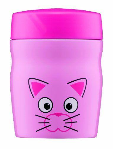 Alfi 0637101035 – Recipiente Hermético para Alimentos, acero inoxidable, 0,35 Litros, diseño de Gato, color rosa