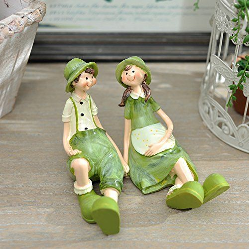 qwer Decoraciones de estilo campestre dones creativos adornos de resina de regalo de cumpleaños para parejas con adornos de resina Kit , sentado
