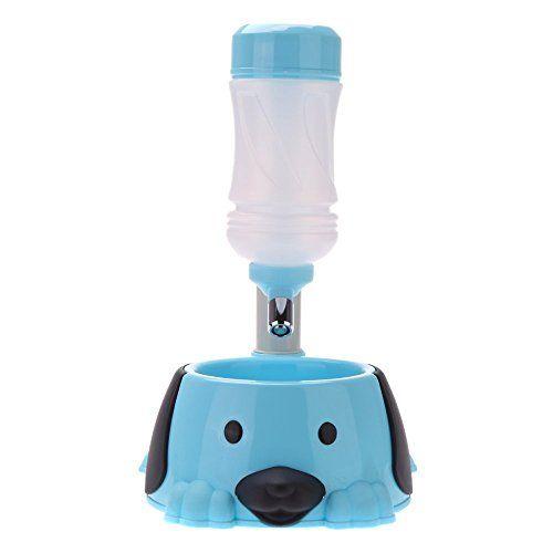 alimentador de elevacion – SODIAL(R)Levantando la fuente del alimentador del agua de bebida con un tazon de Alimentos Para Perros Gatos especialmente para las pequenas Tamano Mascotas azul claro , mascotas