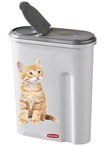 Curver 182007 Petlife – Contenedor para pienso diseño de gato, color blanco y gris