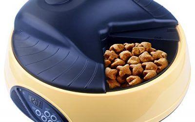 Comedero de Mascotas Automática, Kupet 4 día Alimentador para Perro Gatos con 4 Temporizador al Día / Bandeja de Comida 500ml / Grabadora (Amarillo) , mascotas