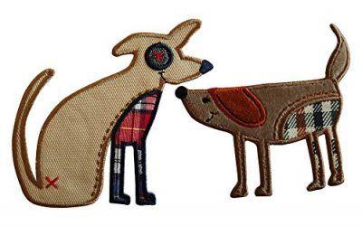 9X6Cm Perro Perro Que Se Sienta 9X9Cm Cómico perro, luciendo una gran sonrisa y en tonos marrones, feliz y mirando fijamente Perro con texturas a cuadros con colores azul, rojo, marrón y lindos ojos de botón