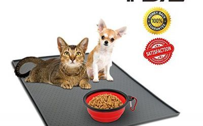 Philonext Pet Food Mat, Pet Dog Bowl Placemat, Square Silicone Waterproof Non-slip Pet Feeding Mat, Grey