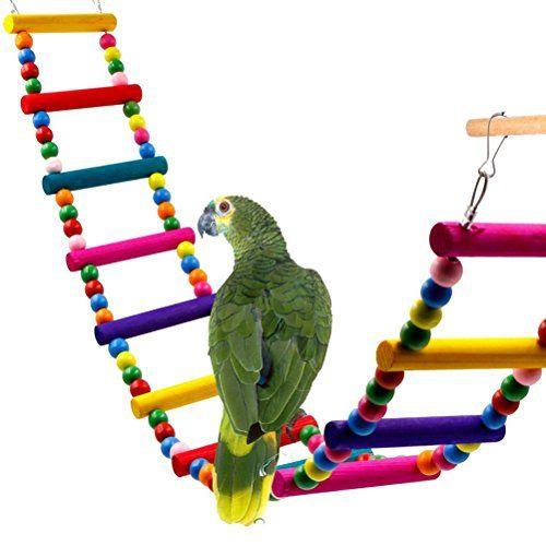 UEETEK Juguete de ave colorida escalera, escaleras Flexible 12 puente de arco iris madera columpios para loros mascotas Trainning (Color al azar)
