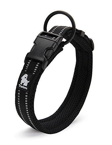 ZEEY Cuello de seguridad fuerte noche de seguridad, suave transpirable malla 3M noche reflectante rayas, Cómodo collar ajustable para perros pequeños / medianos / grandes, Negro (L (45-50cm))
