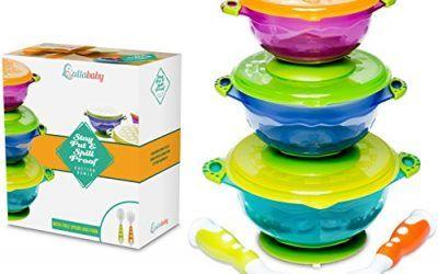 Bols para bebé antivuelco – Set de alimentación con ventosa a prueba de derrames para bebés | Cuchara y tenedor como extra | 3 tamaños de bol y tapas herméticas | Perfecto para almacenar comida para llevar | Aprobado por la FDA Libre de BPA