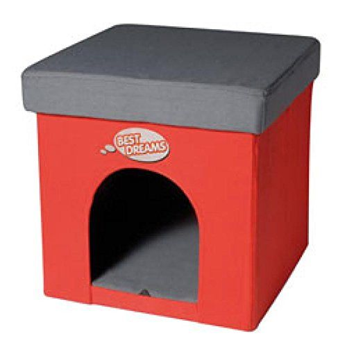 Record Caseta de perro-litera para gatos, otomano cuadrado
