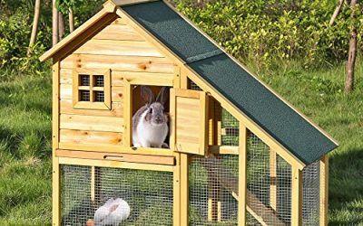 iKayaa AB2001 – 55 pulgadas Jaula doble con rampa para conejos gallinas aves de corral para exterior,madera de abeto