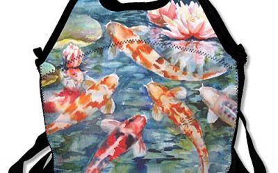 Peces Koi japoneses Lotus almuerzo Tote Bag bolsas Awesome almuerzo caja fiambrera de bolso para la escuela trabajo al aire libre , mascotas