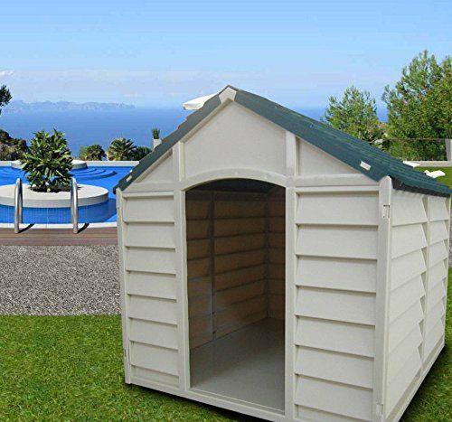 Caseta para perros de tamaño grande-medio, de resina, PVC (policloruro de vinilo), tejado inclinado, para exterior, para jardín, desmontable, 78 x 84 x 80 cm., color beige/verde