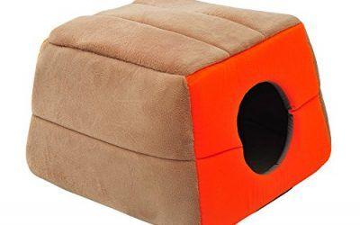 Pawhut 1571260031 – cama para gatos crema y naranja lona 41x41x32cm