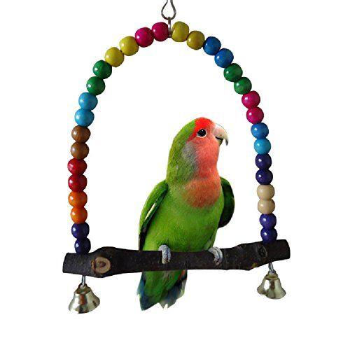 Gold butterfly@ Pájaro colorido juguete para mascotas Pet Budgie suspensión cuerda alrededor del soporte loro juguete oscilación