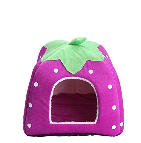 Linda cama plegable de mascotas de fresa perro gato gatito perrito cueva casa de la canina con estera , S , 3