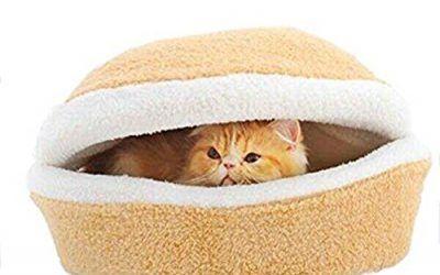 Hrph Los perros pequeños gatos saco de dormir de la jerarquía a prueba de viento caliente suave Hamburgo Forma cama del gato Productos para mascotas