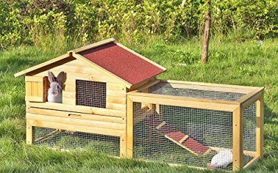 iKayaa AB2012 – 62 pulgadas Jaula con rampa de madera para gallinas conejos,multiuso gallinero conejera para exterior , mascotas