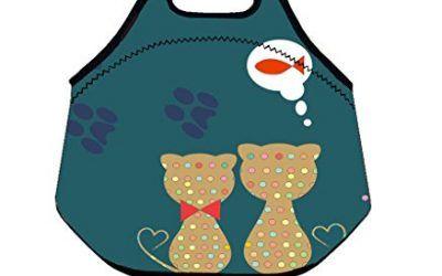 Want to Eat peces gato caliente kidslunch bolsa de neopreno aislante bolsa de gran capacidad con asa caja de almuerzo Tote Bag