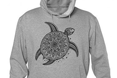 Ornamental Patterned Turtle On The Sand Hombres sudadera con capucha Large