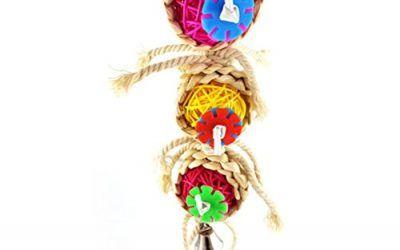 UEETEK Mordedura de juguete divertido pájaro del animal doméstico natural Sepak Takraw masticar juguetes para loros, pericos, guacamayos, periquitos campanas divertido juguete