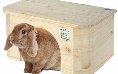 Resch N.º 16 Cabaña para conejo / Madera maciza de picea sin tratar / Entrada extra grande y atractiva superficie de reposo para relajarse