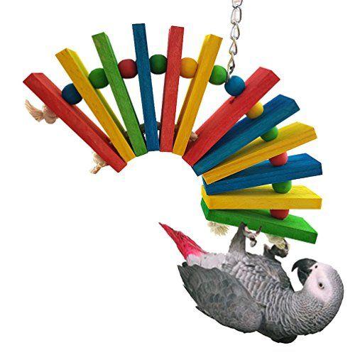 Juguete de mascar loro columpio pájaro puente Multicolor coloré Juego de madera suspendida para periquito Cockatiel Budgie