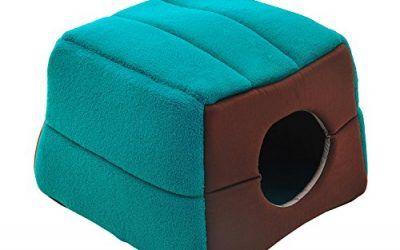 Cama Cojin 2 en 1 Caseta para Gatos Camas Mascotas 41x41x32cm Suave 2 Color NUE (Verde y cafe)