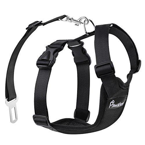 Pawaboo Cinturón De Seguridad de Perro – Adjustable Vest / Malla Harness Car Safety para Mascota Chaleco de Correa con Seat Belt Lead Clip de Coche, Adecuado para Perros de 11 LBS – 33 LBS, Negro