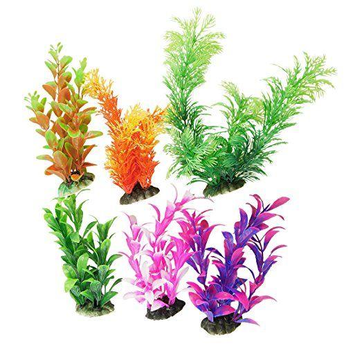6 Plantas de Plástico de Color Variado con Base de Cerámica para Decoración de Pecera