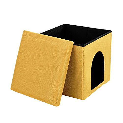 [en.casa] Taburete con espacio para almacenamiento plegable (38 x 38 x 38 cm) para mascotas (mostaza) asiento estable – tapizado de tela