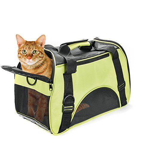 Portador Perro Gato Mascotas Transportin Plegable CapazosparaPerros Bolsa Viaje de Tren y Avión Perfecto para Pequeños Perros y Gatos 42cm*20cm*30cm,Color Verde
