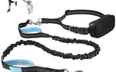 Pecute Manos Libres Correas para Perros con Cinturón y Estuche de Cremallera Estirable y Amortiguador de Chouque 1.5M (Azul y Negro)