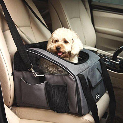 Plegable Portador de viaje del Asiento de coche para Mascotas Perros y Gatos, Gris Oscuro