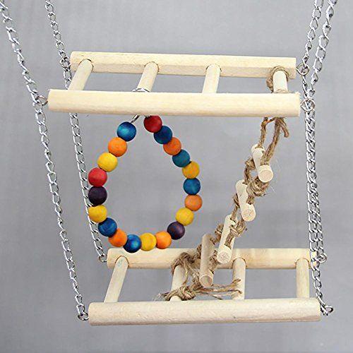 myyxt Pájaro Escalera loro juguetes escalera de madera oscilante y del giogo Levi de pies sulle Scale
