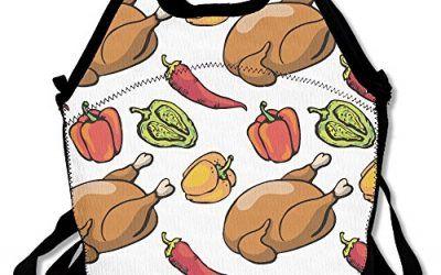 Patrón con pollo y Bell–Bolsa térmica para el almuerzo, diseño de Red Hot Chili Peppers bolsa para el almuerzo de neopreno–grandes bolsas de almuerzo reutilizables para las mujeres, los adolescentes, niñas, niños, bebés, adultos Portable Carry , mascotas