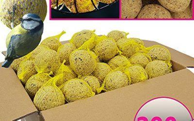 Bolas de grasa para pájaros – 200 bolas = 18 kg – Alimento natural con gran aporte energético para aves silvestres – Bolas de grasa con red individual para colgar