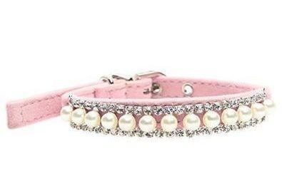 FONPOO Collar de Moda para Perro Lindo Collar Adjustable con Perlas Cristal Bling Collar para Mascotas Femeninas Cinturón de Seguridad para Perros Pequeños Medianos