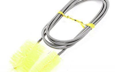 SODIAL(R) Cepillo doble de acuario de cable de metal Limpiador de botella tubo, 155cm, Amarillo