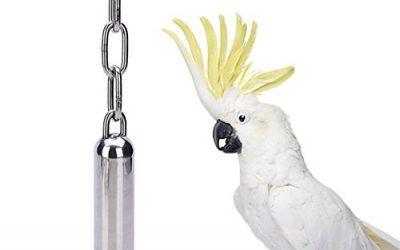 Juguete con sonido de campanas para aves, de acero inoxidable