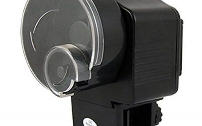 SODIAL(R) Alimentador Automatico Negro de peces Tiempo Ajustable Alimentado por bateria para acuario