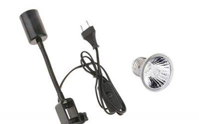 Sharplace E27 Reptil Titular de Lámpara Tortuga Lagarto Basking Light + Bombilla de Halógeno Calor para Animal – UE – Negro 50W