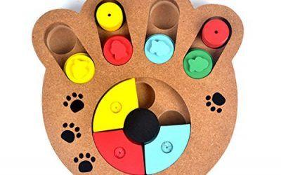PETCUTE Juguete de Inteligencia para Mascotas Rompecabezas Plato Tazón de Fuente Lento de Alimentación Creativo Interactivo De Madera Perros IQ Formación Plato Juguetes Escondite