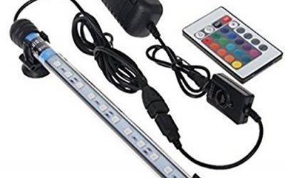 Glighone Lámpara de Acuario Luces para Acuarios Peceras y Estanques 12 LED 3W 12 RGB Color de Acuario Sumergible Enchufe EU