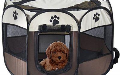 MiLuck Animal de compañía portátiles plegables Playpen, ejercicio de 8 paneles de la perrera de malla cubierta de la sombra interior / al aire libre tienda de cercas para perros gatos (S-Marrón)