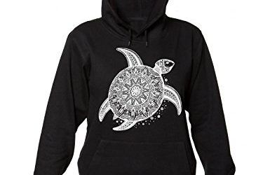 Ornamental Patterned Turtle On The Sand Women's Hooded Sweatshirt Sudadera con capucha para mujer Large
