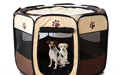 Jaula estilo parque para Mascota, Perro, Gato, Portátil, plegable, caseta de ejercicio–uso en interiores y exteriores