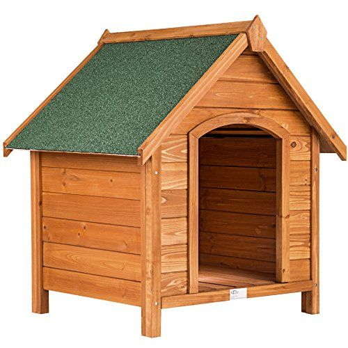 TecTake Caseta de madera maciza para perro tejado verde 72x65x83cm