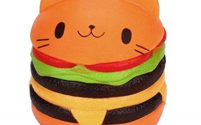Rawdah Jumbo gato de dibujos animados hamburguesa perfumada lenta levantar exquisito niño juguete suave (naranja) , mascotas