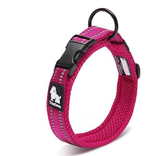 Petcomer Cuello de perro con Anilla para Correa Collar de seguridad Ajustable Cómodo para Perros Pequeños Medianos o Grandes (XS 30-35cm, Rosa)