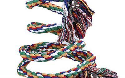 Kicode 1,5 / 2M Loro cuerda para mascotas bobina de aves Las perchas oscilación Cockatiel Conure Budgie W / Campana juguete jaula