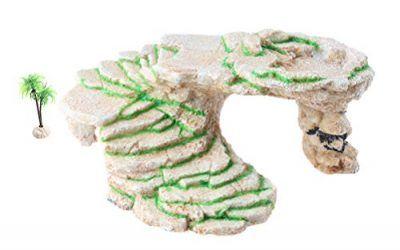Emourspuk – Plataforma de balancín para tortuga de Shale Rock Den, borde y cueva Gecko con planta de plástico, tamaño grande